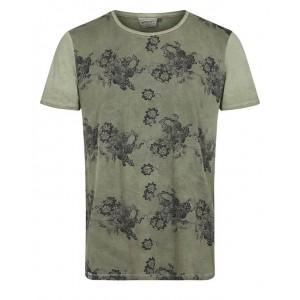 Camiseta con flores kaki Anerkjendt