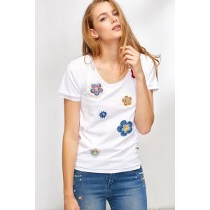 Camiseta mujer Lolitas&L con apliques de flores y tachuelas