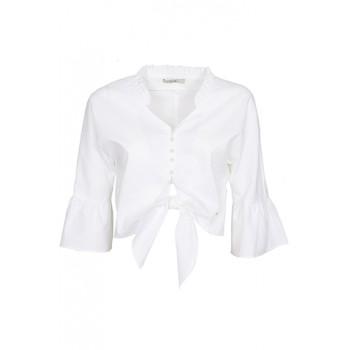 Blusa corta anudada con manga flamenca Yes Zee