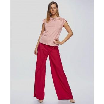 Camiseta Van Dos crochet lino rosa