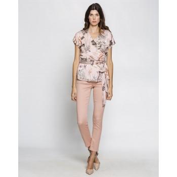 Pantalones Van Dos slim fit rosa