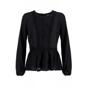 Blusa con apliques de puntilla negro Yes Zee