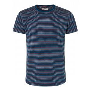 Tshirt hombre multi rayas No Excess rojo azulón