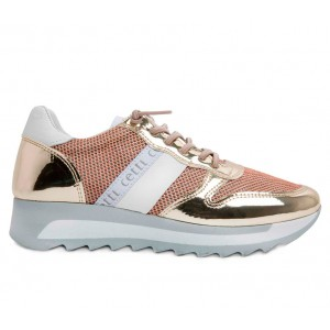 Sneakers Cetti woman C847 platinum leather and mesh
