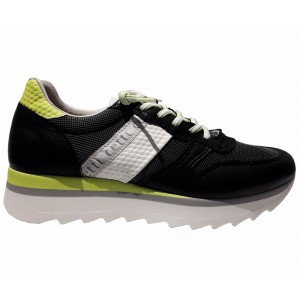 Sneakers Cetti woman C847 black yellow leather
