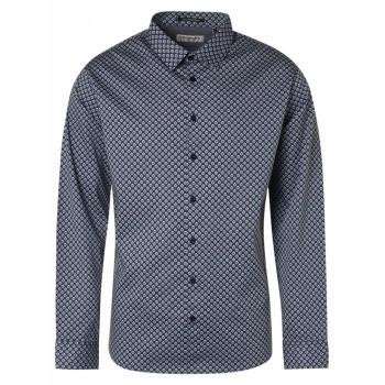Camisa hombre No Excess estampada con fondo azul