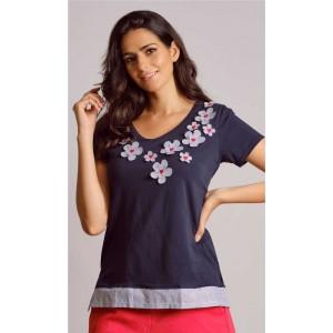 Camiseta con apliques de flores y corazones bordados Scorzzo