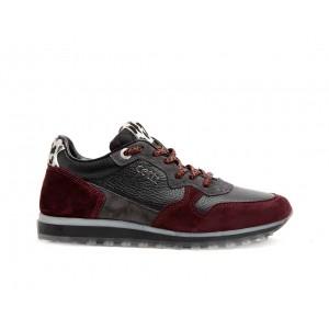 Sneakers C1244 piel y ante burdeos Cetti